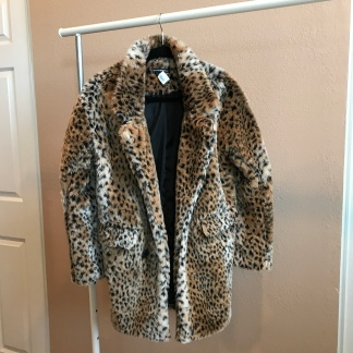 Leopard Faux Fur Coat from Brandy Melville