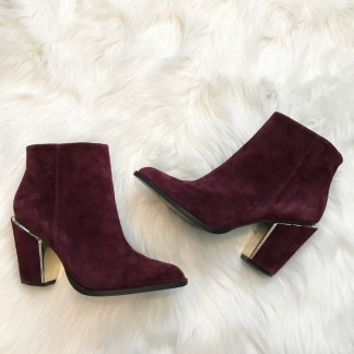 Burgundy Suede Booties from Aldo